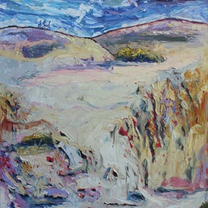 (CreativeWork) SAND-BOARDING THE LITTLE SAHARA SAND DUNES ON KANGAROO ISLAND by Maureen Finck. oil-painting. Shop online at Bluethumb.
