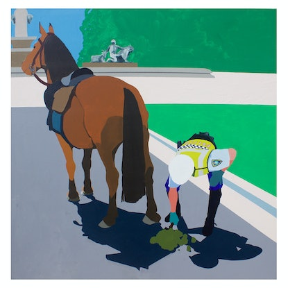 (CreativeWork) Police picking up horse shit by Alex Latham. Acrylic Paint. Shop online at Bluethumb.