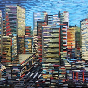 (CreativeWork) Cityscape by D.M. (David Martin) Ross. oil-painting. Shop online at Bluethumb.