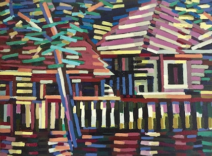 (CreativeWork) Suburban Houses by D.M. (David Martin) Ross. oil-painting. Shop online at Bluethumb.