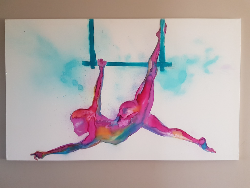 (CreativeWork) Trapeze in colour by Felicity Cavanough. mixed-media. Shop online at Bluethumb.