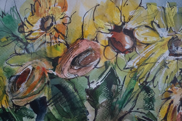 (CreativeWork) Sunflowers by Anetta Dobrakowska. Watercolour Paint. Shop online at Bluethumb.