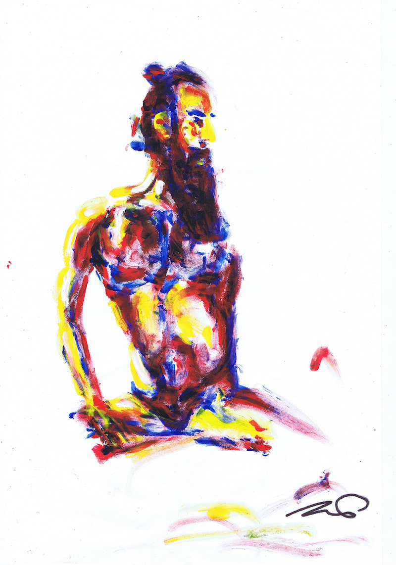 (CreativeWork) Nude Male Sitting by Teale Otter. arcylic-painting. Shop online at Bluethumb.