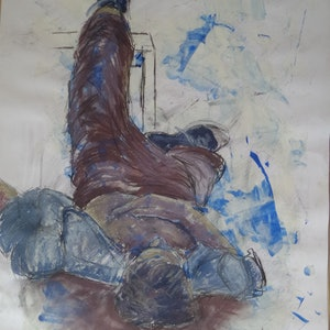 (CreativeWork) He lay contemplating. by Jo Dansie. mixed-media. Shop online at Bluethumb.