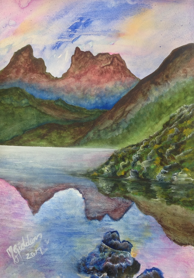 (CreativeWork) Cradle Mountain Tasmania #2 of Series by Michael Giddens. watercolour. Shop online at Bluethumb.
