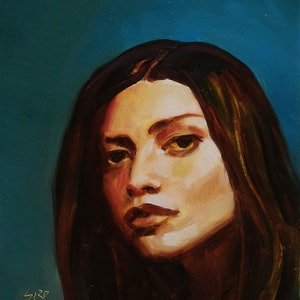 (CreativeWork) girl with green eyes by gord anderson. oil-painting. Shop online at Bluethumb.