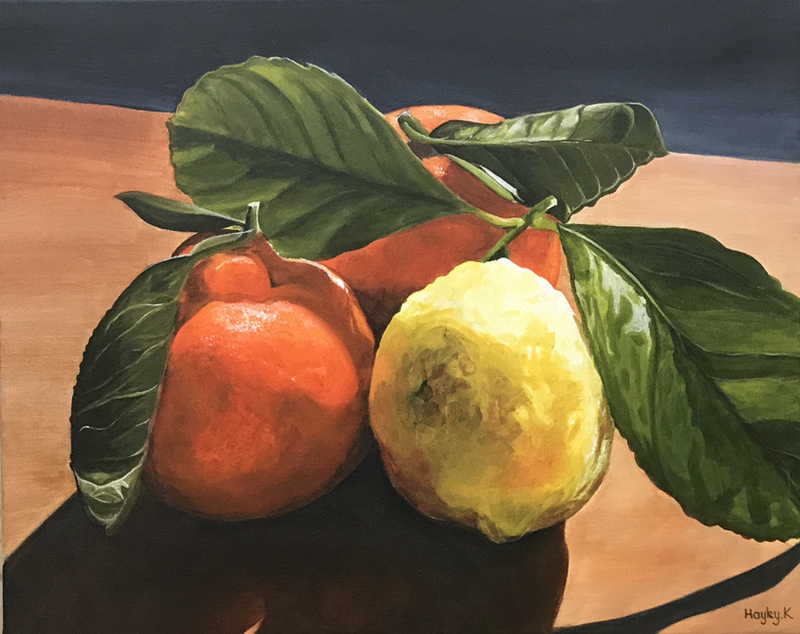 (CreativeWork) Oranges and Lemons by Hayley Kruger. arcylic-painting. Shop online at Bluethumb.