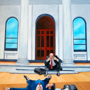 (CreativeWork) The Business Incident: Two Men Bang Heads Whilst Bowing. by Colin Rowe. oil-painting. Shop online at Bluethumb.