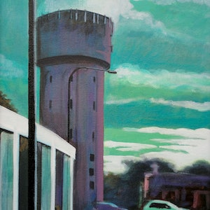 (CreativeWork) Water Tower (part 2) by Ross Morgan. arcylic-painting. Shop online at Bluethumb.