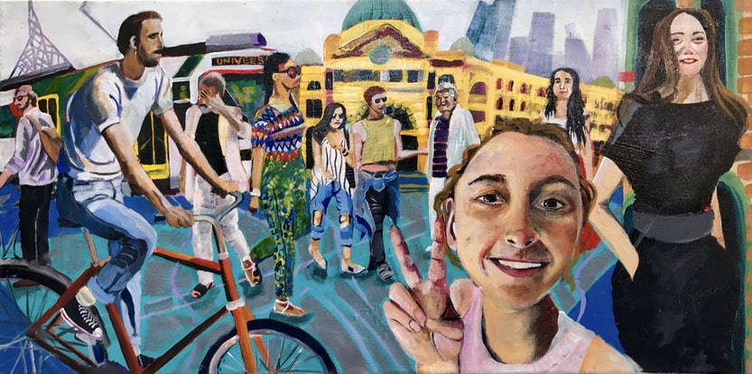 (CreativeWork) Photo-bomber at Flinders Street Station by Alison Pilcher. Acrylic Paint. Shop online at Bluethumb.