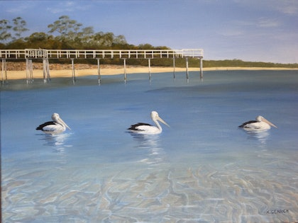 (CreativeWork) Cruising the Bay by Kylie Genrich. arcylic-painting. Shop online at Bluethumb.