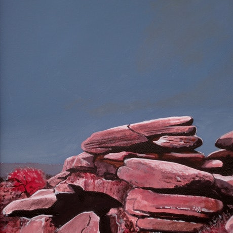 (CreativeWork) Cherry Rocks by Ross Morgan. Acrylic Paint. Shop online at Bluethumb.