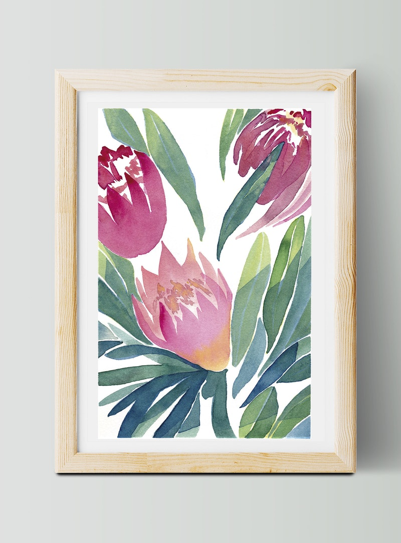 Limited edition 3 50 winter proteas no 1 floral watercolour