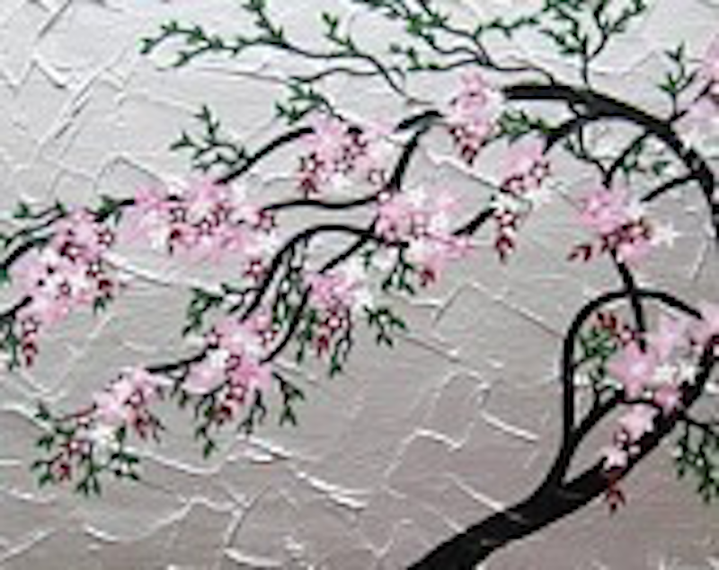 (CreativeWork) Windswept Blossoms by Cathy Jacobs. arcylic-painting. Shop online at Bluethumb.