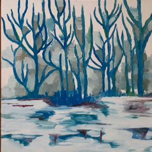 (CreativeWork) Forrest for the trees by Googie Ann. oil-painting. Shop online at Bluethumb.