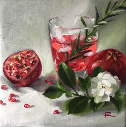 (CreativeWork) G&T Pomegranate by Rosa Fedele. oil-painting. Shop online at Bluethumb.