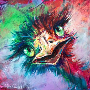 (CreativeWork) Emu 21 by Jos Coufreur. arcylic-painting. Shop online at Bluethumb.