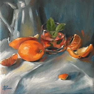 (CreativeWork) G&T Blood Orange by Rosa Fedele. oil-painting. Shop online at Bluethumb.