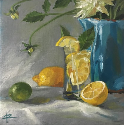 (CreativeWork) G&T Lemon  Lime by Rosa Fedele. oil-painting. Shop online at Bluethumb.