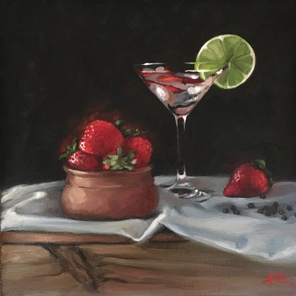 (CreativeWork) G&T Strawberries and Black Pepper by Rosa Fedele. oil-painting. Shop online at Bluethumb.