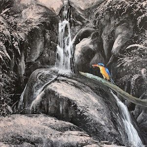 (CreativeWork) -WATERFALL SERIES-WITH AZURE KINGFISHER by Margaret HADFIELD. #<Filter:0x00005589e97b8388>. Shop online at Bluethumb.
