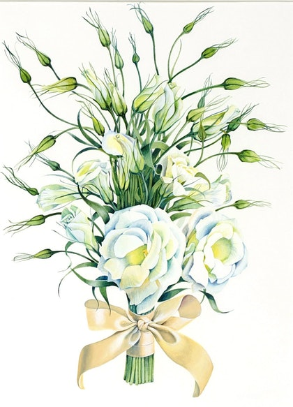 (CreativeWork) Country Bridal Bouquet by Carol Croad. watercolour. Shop online at Bluethumb.