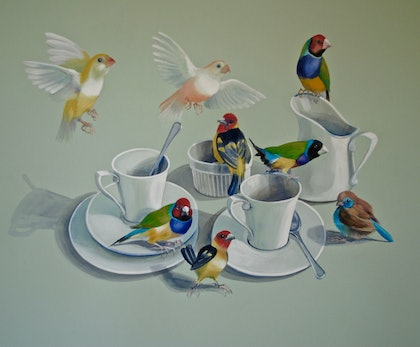 (CreativeWork) Tea With The Gouldians by Carol Croad. watercolour. Shop online at Bluethumb.