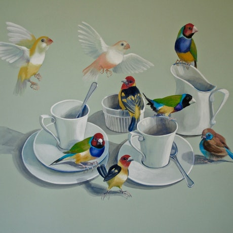 (CreativeWork) Tea With The Gouldians by Carol Croad. Watercolour Paint. Shop online at Bluethumb.
