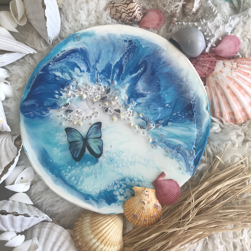 (CreativeWork) Blue summer | Original Abstract Painting with gemstones and seashells by MARIE ANTUANELLE. resin. Shop online at Bluethumb.