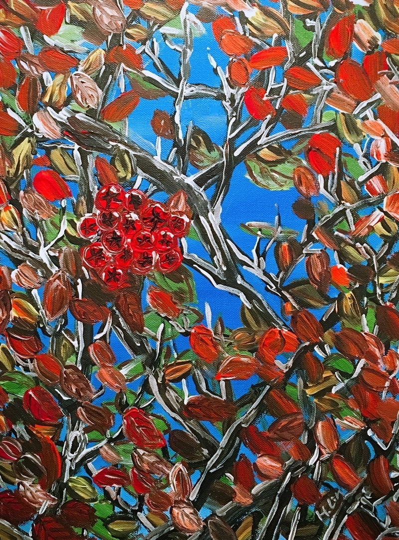 (CreativeWork) HAWTHORN BERRIES - Ready to hang  by HSIN LIN. arcylic-painting. Shop online at Bluethumb.
