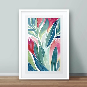 (CreativeWork) Limited edition 1/50 Winter Proteas no.2 — floral watercolour painting print of Australian native flowers Ed. 1 of 50 by Lyndsey Knight. print. Shop online at Bluethumb.