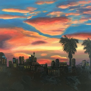 (CreativeWork) Sunset Over City by Irina White. arcylic-painting. Shop online at Bluethumb.