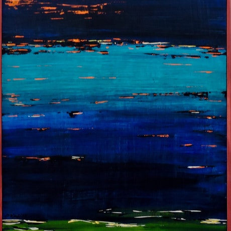 (CreativeWork) Last Light on the Foreshore by Noela O'Keefe. Acrylic Paint. Shop online at Bluethumb.