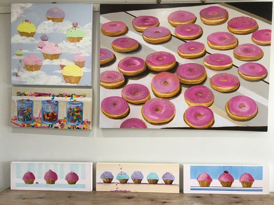 (CreativeWork) Pink Donuts by Denise Gallagher. Acrylic. Shop online at Bluethumb.