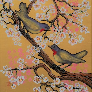 (CreativeWork) Two Birds in Cherry Blossom Tree by Brita Lee. arcylic-painting. Shop online at Bluethumb.