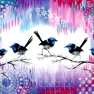 (CreativeWork) Fairy wren family by Cathy Jacobs. acrylic-painting. Shop online at Bluethumb.