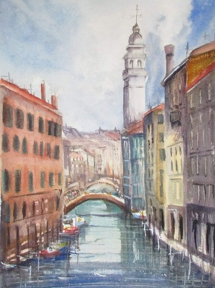 (CreativeWork) Venice by Helen Elphinstone - King. watercolour. Shop online at Bluethumb.
