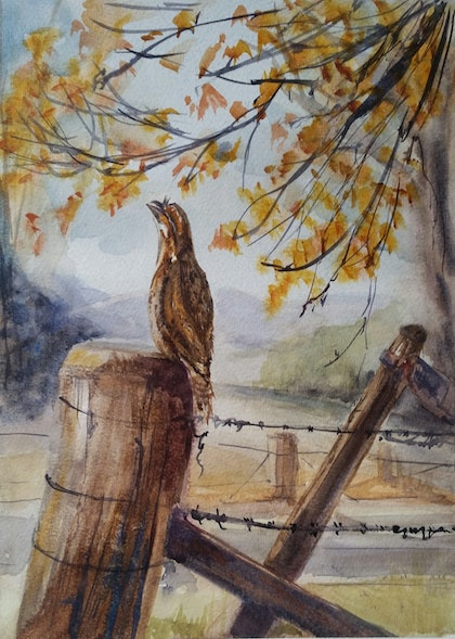 (CreativeWork) Tawny in the Autumn by Helen Elphinstone - King. watercolour. Shop online at Bluethumb.