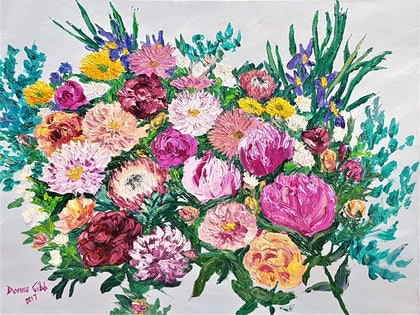 (CreativeWork) Bouquet of Love  by Donna Gibb. oil-painting. Shop online at Bluethumb.