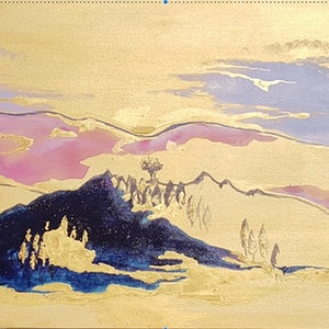(CreativeWork) Golden hills by Felicity Cavanough. arcylic-painting. Shop online at Bluethumb.