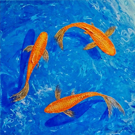 (CreativeWork) Gold Fish by Julie-Anne Gatehouse. Acrylic Paint. Shop online at Bluethumb.