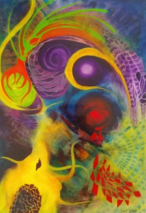 (CreativeWork) Cosmic Chaos by Cathy Gilday. Acrylic Paint. Shop online at Bluethumb.