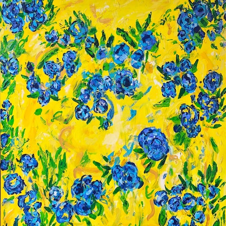 (CreativeWork) Fabric by Kimmy Thomas. Acrylic Paint. Shop online at Bluethumb.