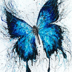 (CreativeWork) Night Sky Butterfly by Ashvin Harrison. arcylic-painting. Shop online at Bluethumb.
