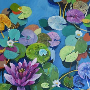 (CreativeWork) Pink Lily by Susan Trudinger. arcylic-painting. Shop online at Bluethumb.