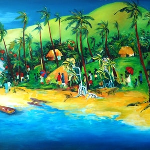 (CreativeWork) Pacific Island Christmas  by Glenise Clelland. oil-painting. Shop online at Bluethumb.