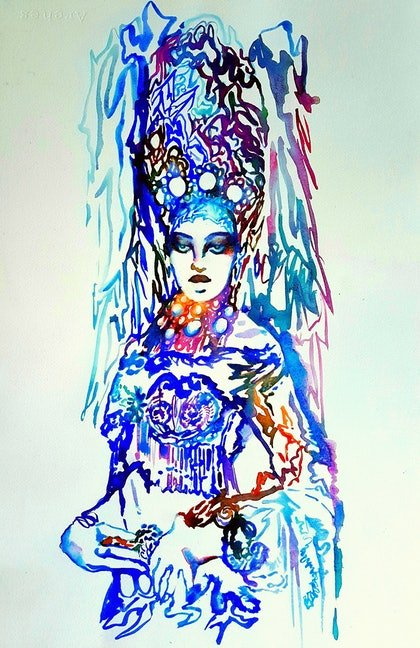(CreativeWork) Russian Snow Queen by Jenny Gil-Vidal. watercolour. Shop online at Bluethumb.