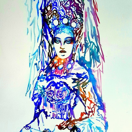 (CreativeWork) Russian Snow Queen by Jenny Gil. Watercolour. Shop online at Bluethumb.