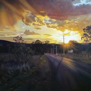 (CreativeWork) Sunset Over Brooks Point by Hetty Thompson. oil-painting. Shop online at Bluethumb.