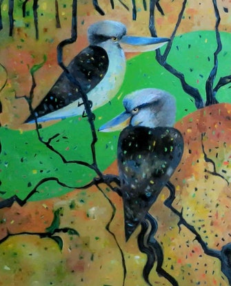 (CreativeWork) Kookaburra Creek - huge work - special price  by John Graham. Oil Paint. Shop online at Bluethumb.